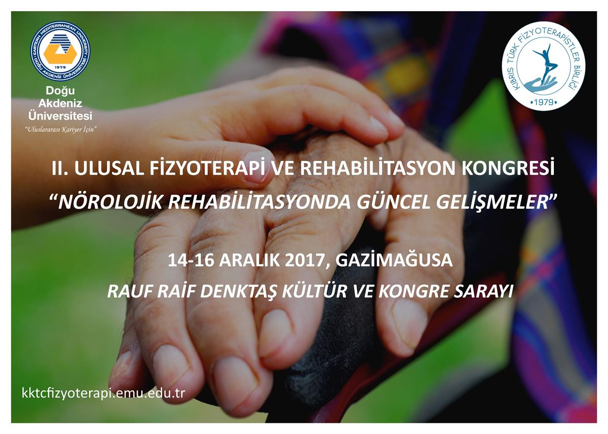 II. National Physiotherapy and Rehabilitation Congress will be 14-16 December 2017 at 8:30